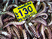 12 JULY 2018 - SAMUT PRAKAN, SAMUT PRAKAN, THAILAND:  Small octopus for sale in the Pak Nam market in Samut Prakan. Fish consumption recently hit a record high according to a report published this week by the United Nations Food and Agriculture Organization. The FAO reported that global fish production peaked at about 171 million tonnes in 2016, 47 percent of it from fish farming. The FAO also reported that global fish consumption between 1961 and 2016 was rose nearly twice as fast as population growth. In 2015, fish accounted for about 17 percent of the animal protein consumed globally. This has ramifications for Thailand, which has one of the world's largest fish and seafood industries. About 90% of Thailand's seafood production is exported, which accounts for about 4% of Thailand's exports.  PHOTO BY JACK KURTZ