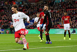 Manolo Gabbiadini of Southampton wheels away to celebrate after scoring his sides first goal to make the score 2-1 - Mandatory by-line: Matt McNulty/JMP - 26/02/2017 - FOOTBALL - Wembley Stadium - London, England - Manchester United v Southampton - EFL Cup Final