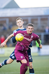 Arbroath's Martin Scott and Forfar Athletic's Thomas O'Brien. half time : Forfar Athletic 0 v 0 Arbroath, Scottish Football League Division Two game played 10/12/2016 at Station Park.