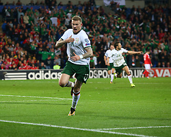 October 9, 2017 - Cardiff City, Galles, United Kingdom - James McClean of Republic of Ireland  celebrates scoring his sides first goal ..during World Cup Qualifying - European Group D match between Wales against Republic of Ireland at Cardiff City Stadium Cardiff City Football Club on 09 Oct  2017  (Credit Image: © Kieran Galvin/NurPhoto via ZUMA Press)