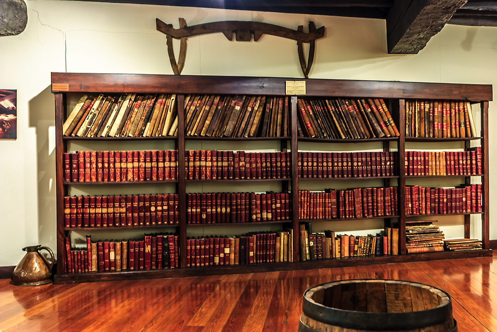 Madeira winery archive in Funchal. In the oldest Madeira Wine cellars, you can see documents and books of the early days of Madeira Wine production.