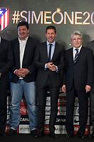 Mono Burgos (L), Diego Pablo `Cholo´ Simeone (C) and Enrique Cerezo during Simeone´s contract renewal announcement as Atletico de Madrid´s coach until 2020, in Madrid, Spain. March 24, 2015. (ALTERPHOTOS/Victor Blanco)