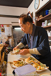 """A 6-course dinner at Restaurant """"Tenryu"""" prepared by 82-year old Harley-Davidson riding Chef Ryutaro Nakamura, Japan. December 8, 2015.  Photography ©2015 Michael Lichter."""