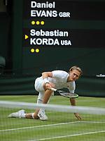 Tennis - 2021 All England Championships - Week One - Day Five (Friday) - Wimbledon<br /> Daniel Evans v Sebastian Korda <br /> <br />  Sebastian Korda slips on the grass<br /> <br /> <br /> CreditCOLORSPORT/Andrew Cowie