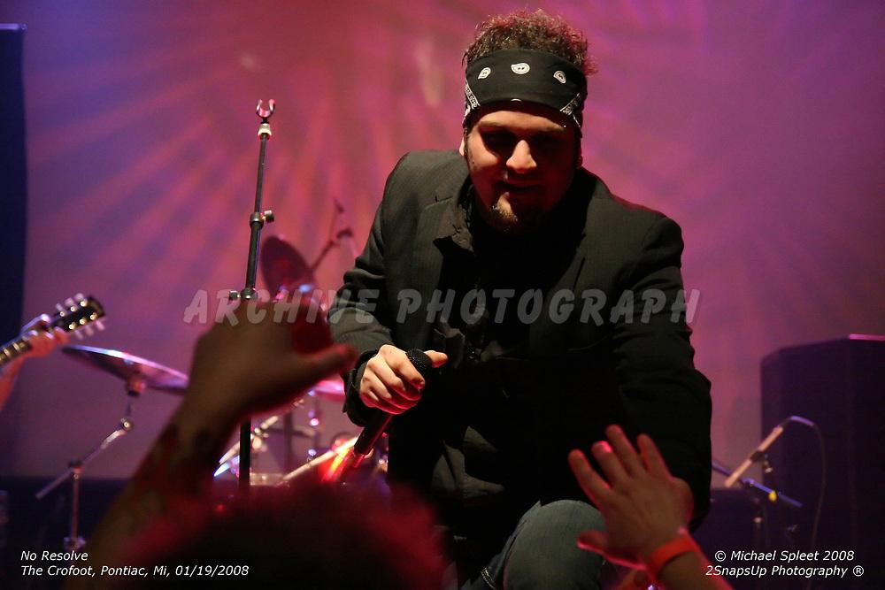PONTIAC, MI, SATURDAY, JAN. 19, 2008: No Resolve, Oscar Pegorraro at The Crofoot, Pontiac, MI, 01/19/2008. (Image Credit: Michael Spleet / 2SnapsUp Photography)