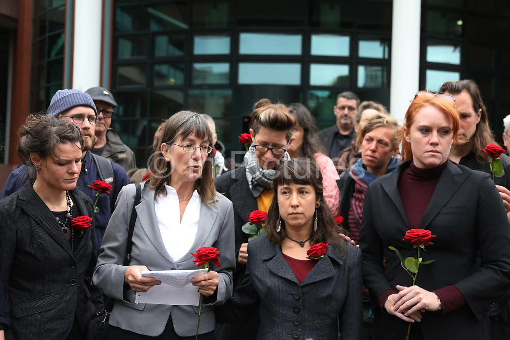 "Rosalind Blevins, mother of Simon Roscoe reads out a defiant statement as a reaction to the sentence September 26 2018, Preston crown court, Preston, United Kingdom. From left is Sarah, partner of Roscoe, Taryn, partner of Richard Loizou and Michelle, partner of Richard Roberts. Simon Roscoe Blevins, 26,  Richard Roberts, 36 were both sentenced 16 months in prison, Richard Loizou, 31, sentenced 15 months in prison and  and Julian Brock, 47 12 months supended. Simon Roscoe Blevins, 26,  Richard Roberts, 36 were both sentenced 16 months in prison, Richard Loizou, 31, sentenced 15 months in prison and  and Julian Brock, 47 12 months supended. Simon Roscoe Blevins, 26,  Richard Loizou, 31, Richard Roberts, 36 and Julian Brock, 47 climbed on top of several trucks during a mass protest by locals and supporters in New Preston Road, against fracking in Lancashire, July 2017. The trucks were prevented form delivering equipment to Cuadrillas nearby fracking site for four days. After a seven day jury trial at Preston Crown Court in August 2018, the four men were found guilty of Public Nuisance. Judge Altham has told them to expect ""immediate custodial sentences"" on 25th September 2018."