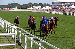 Old Persian ridden by Jockey William Buick (centre) on the way to winning the King Edward VII Stakes during day four of Royal Ascot at Ascot Racecourse.