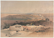 Gaza 1839 Color lithograph by David Roberts (1796-1864). An engraving reprint by Louis Haghe was published in a the book 'The Holy Land, Syria, Idumea, Arabia, Egypt and Nubia. in 1855 by D. Appleton & Co., 346 & 348 Broadway in New York.