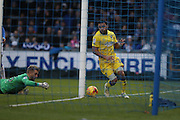 AFC Wimbledon striker Andy Barcham (17) shoots at goal and is saved by Bristol Rovers goalkeeper Will Puddy (25) during the EFL Sky Bet League 1 match between Bristol Rovers and AFC Wimbledon at the Memorial Stadium, Bristol, England on 31 December 2016. Photo by Stuart Butcher.