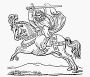 St James the Apostle (St James the Great) Patron saint of Spain. Horse's trappings show scallop shells, the saint's symbol. Woodcut