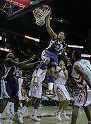 March 17, 2010; Houston, TX, USA; Memphis Grizzlies forward Rudy Gay (22) dunks against the Houston Rockets in the second quarter at the Toyota Center. The Rockets won 107-94. Mandatory Credit: Thomas Campbell-US PRESSWIRE