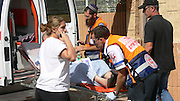Israel, Sderot, Israel, Sderot, First aid crew evacuating a mature man from his home after suffering from psychological distress caused by a Qassam rockets launched by Hamas from Gaza November 4th 2007