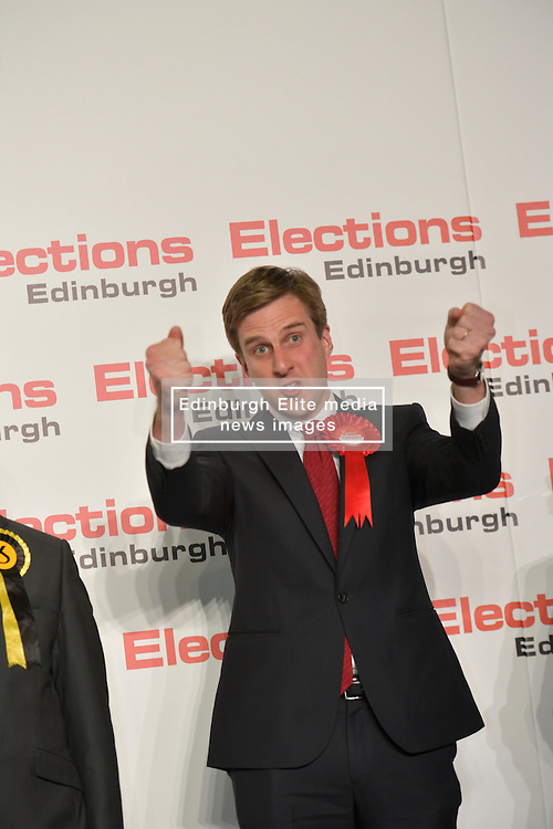 SCOTTISH PARLIAMENTARY ELECTION 2016 – Daniel Johnson, Scottish Labour Party winning the Southern Edinburgh Seat at the Scottish Parliament Election at the Royal Highland Centre, Edinburgh for the counting of votes and declaration of results.<br />(c) Brian Anderson | Edinburgh Elite media