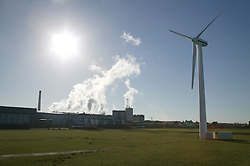 Oldside windfarm with factories in background; Workington,
