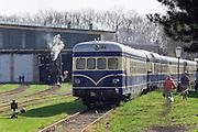 "Strasshof, Austria.<br /> Opening of the season at Das Heizhaus - Eisenbahnmuseum Strasshof, Lower Austria's newly designated competence center for railway museum activities.<br /> ÖBB 4145 ""Blauer Blitz (Blue Lightning)"", 1952-1962."