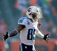 Tennessee Titans receiver Nate Washington during warm ups during the game against the Denver Broncos at Sports Authority Mile High Stadium in Denver, Colorado on December 8, 2013. The high temp for the game was around 10 degrees. Photos by Donn Jones Photography
