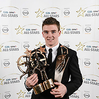 8 November 2013; Clare hurler Tony Kelly with his 2013 GAA GPA All-Star awards, sponsored by Opel, including Player of the Year and Young Player of the Year awards, at the 2013 GAA GPA All-Star awards in Croke Park, Dublin. Picture credit: Paul Mohan / SPORTSFILE *** NO REPRODUCTION FEE ***