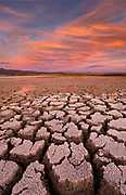 Cracked Alkali after Sunset, BLM Lands, Mono County, Caifornia