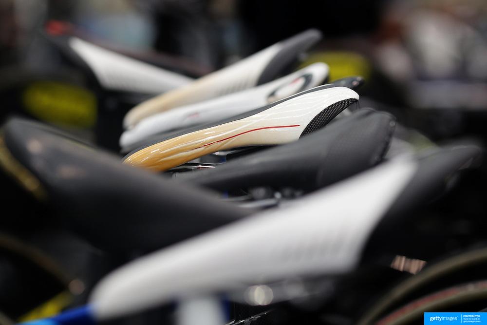 Bike seats lined up on bike racks at the 2012 Oceania WHK Track Cycling Championships, Invercargill, New Zealand. 21st November 2011. Photo Tim Clayton