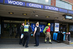 © Licensed to London News Pictures. 08/10/2020. London, UK. Police and paramedics outside Wood Green underground station in north London, following a person under the train. Photo credit: Dinendra Haria/LNP