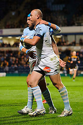 Bayonne Winger (#14) Sam Gerber  celebrates with Flanker (#6) Jean Monribot  after scoring a try during the first half of the match - Photo mandatory by-line: Rogan Thomson/JMP - Tel: 07966 386802 - 17/10/2013 - SPORT - RUGBY UNION - Adams Park Stadium, High Wycombe - London Wasps v Bayonne - Amlin Challenge Cup Round 2.