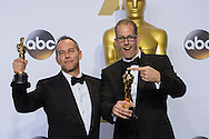 """88th Academy Awards press room.<br /> Best Animated Film Feature winners Jonas Rivera and Pete Doctor for the film """"Inside Out."""""""