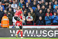Sheffield United's John Lundstram is mobbed by team-mate George Baldock as he celebrates scoring the opening goal <br /> <br /> Photographer Rich Linley/CameraSport<br /> <br /> The Premier League - Sheffield United v Burnley - Saturday 2nd November 2019 - Bramall Lane - Sheffield<br /> <br /> World Copyright © 2019 CameraSport. All rights reserved. 43 Linden Ave. Countesthorpe. Leicester. England. LE8 5PG - Tel: +44 (0) 116 277 4147 - admin@camerasport.com - www.camerasport.com