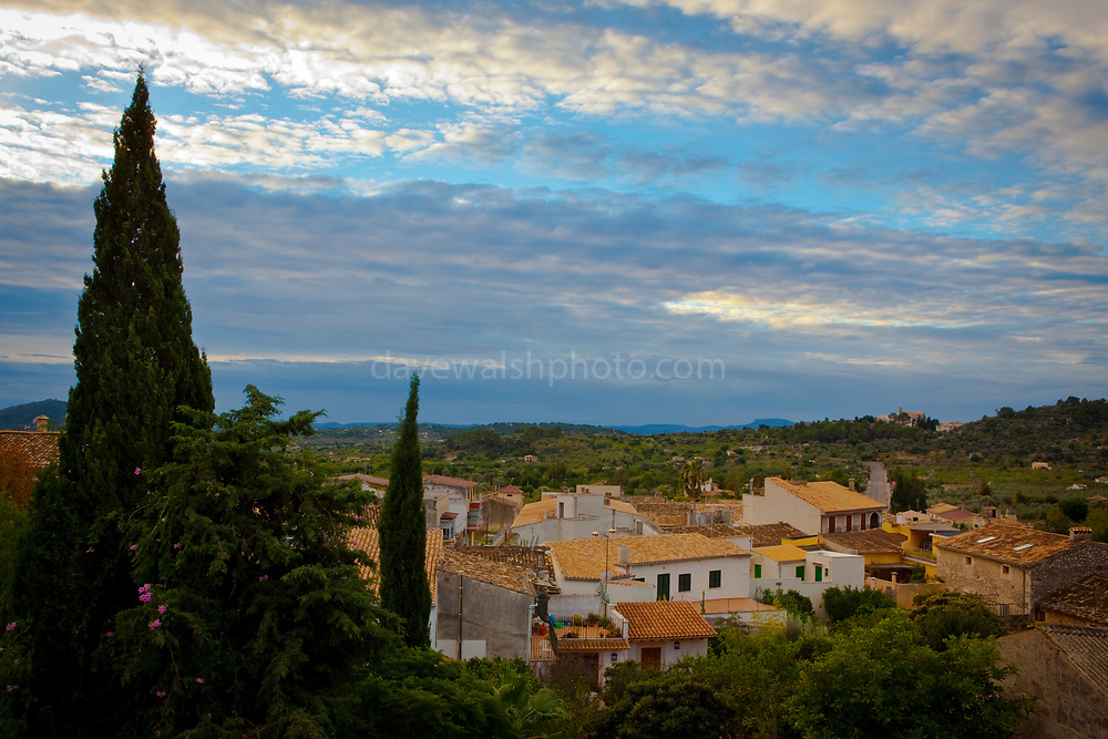 Morning view across the rooftops of the town of Caimari, near Selva and Inca, in central northwest Mallorca, famous for its olives.