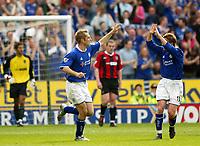 Photo: Scott Heavey.<br />Leicester City v Manchester City. FA Barclaycard Premiership. 24/04/2004.<br />James Scowcroft celebrates his equaliser