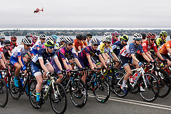 The peloton roll out of Geelong under grey skies at the 2020 Cadel Evans Great Ocean Road Race - Deakin University Women's Race, a 121 km road race in Geelong, Australia on February 1, 2020. Photo by Sean Robinson/velofocus.com