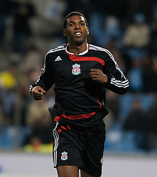 MARSEILLE, FRANCE - Tuesday, December 11, 2007: Liverpool's Ryan Babel celebrates scoring the fourth goal against Olympique de Marseille during the final UEFA Champions League Group A match at the Stade Velodrome. (Photo by David Rawcliffe/Propaganda)