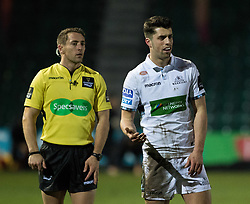 Glasgow Warriors' Adam Hastings<br /> <br /> Photographer Simon King/Replay Images<br /> <br /> Guinness PRO14 Round 14 - Dragons v Glasgow Warriors - Friday 9th February 2018 - Rodney Parade - Newport<br /> <br /> World Copyright © Replay Images . All rights reserved. info@replayimages.co.uk - http://replayimages.co.uk