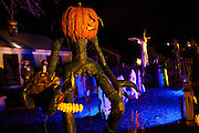 """Chris Baker's haunted yard in South Yarmouth, MA. Every year Baker sets up an elaborate Halloween display in his yard and on Halloween, neighborohood residents walk through his frightening """"vortex"""" of horror while trick or treating."""