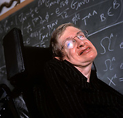 Professor Stephen Hawking in his office, Cambridge.<br /> Hawking is the Lucasian Professor of Mathematics at the University of Cambridge, and a Fellow of Gonville and Caius College, Cambridge, UK.