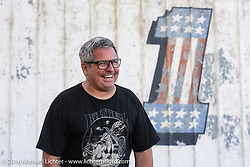 Magoo (Harold McGruther) at his Biltwell Bash at Robison's Cycles during Daytona Bike Week 75th Anniversary event. FL, USA. Friday March 11, 2016.  Photography ©2016 Michael Lichter.