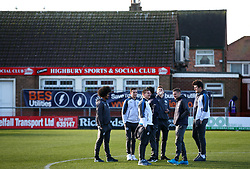 Leicester City's Jamie Vardy (second right) and team mates on the pitch before the FA Cup, third round match at Highbury Stadium, Fleetwood