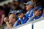Unhappy Cardiff City fan watching the second half. Skybet football league championship match , Millwall v Cardiff city at the Den in Millwall, London on Saturday 25th October 2014.<br /> pic by John Patrick Fletcher, Andrew Orchard sports photography.