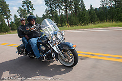 Jim Wubben of PB Choppers on the Aidan's Ride to raise money for the Aiden Jack Seeger nonprofit foundation to help raise awareness and find a cure for ALD (Adrenoleukodystrophy) during the annual Sturgis Black Hills Motorcycle Rally. Vanocker Canyon between Sturgis and Nemo, SD, USA. Tuesday August 8, 2017. Photography ©2017 Michael Lichter.