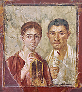 Roman fresco wall painting portrait of a baker, Terentius, and his wife in the pose of intellectuals, their expressions capture the sense of a real moment that connects with the viewer in a direct realistic way , Pompeii VII 2,6 , inv 9058 , Naples National Archaeological Museum If you prefer visit our World Gallery Print Shop To buy a selection of our prints and framed prints desptached  with a 30-day money-back guarantee and is dispatched from 16 high quality photo art printers based around the world. ( not all photos in this archive are available in this shop) https://funkystock.photoshelter.com/p/world-print-gallery .<br /> <br /> USEFUL LINKS:<br /> Visit our other HISTORIC AND ANCIENT ART COLLECTIONS for more photos to buy as wall art prints  https://funkystock.photoshelter.com/gallery-collection/Ancient-Historic-Art-Photo-Wall-Art-Prints-by-Photographer-Paul-E-Williams/C00002uapXzaCx7Y