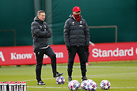 Football - 2019 / 2020 season - Liverpool training & press conference pre-Atletico Madrid<br /> <br /> Liverpool manager Jurgen Klopp and  assistant coach Pepijn Lijnders during today's open training session at Melwood ahead of tomorrow's Champions League match against Atletico, at Anfield.<br /> <br /> COLORSPORT/ALAN MARTIN