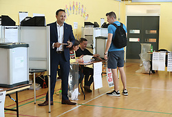 Taoiseach Leo Varadkar casts his vote at Scoil Thomas, Castlenock Dublin, as the country goes to the polls to vote in the referendum on the 8th Amendment of the Irish Constitution.