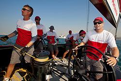 RR2. Artemis Racing (SWE) vs. Mascalzone Latino Audi Team (ITA). Dubai, United Arab Emirates, November 22nd 2010. Louis Vuitton Trophy  Dubai (12 - 27 November 2010) © Sander van der Borch / Artemis Racing