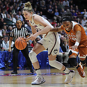 UNCASVILLE, CONNECTICUT- DECEMBER 4: Katie Lou Samuelson #33 of the Connecticut Huskies is challenged by Brianna Taylor #20 of the Texas Longhorns during the UConn Huskies Vs Texas Longhorns, NCAA Women's Basketball game in the Jimmy V Classic on December 4th, 2016 at the Mohegan Sun Arena, Uncasville, Connecticut. (Photo by Tim Clayton/Corbis via Getty Images)