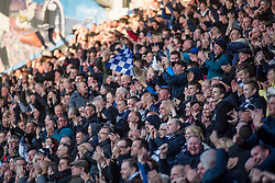 South stand fans after Falkirk's Blair Alston scored their first goal. Falkirk 3 v 2 Hibernian, Scottish Premiership play-off final, played 13/5/2016 at The Falkirk Stadium.