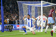 Brighton and Hove Albion midfielder Alireza Jahanbakhsh Jirandeh (16) celebrates Brighton and Hove Albion striker Glenn Murray (17) goal (not in picture) during the Premier League match between Brighton and Hove Albion and West Ham United at the American Express Community Stadium, Brighton and Hove, England on 5 October 2018.