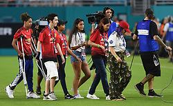 July 31, 2018 - Miami Gardens, FL, USA - Manchester United played host to survivors from the shooting at Marjory Stoneman Douglas High School during the International Champions Cup against Real Madrid at Hard Rock Stadium in Miami Gardens, Fla., on Tuesday, July 31, 2018. Manchester United won, 2-1. (Credit Image: © Jim Rassol/TNS via ZUMA Wire)