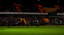 A floodlight at The One Call Stadium goes out leaving the players of England U19 and Germany Under 19s in darkness - Mandatory by-line: Robbie Stephenson/JMP - 05/09/2017 - FOOTBALL - One Call Stadium - Mansfield, United Kingdom - England U19 v Germany U19 - International Friendly