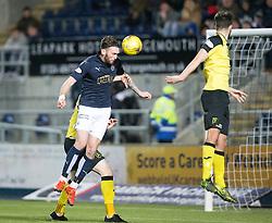 Falkirk's Lee Miller scoring their second goal. Falkirk 2 v 0 Livingston, Scottish Championship game played 29/12/2015 at The Falkirk Stadium.