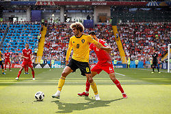June 23, 2018 - Moscou, Rússia - MOSCOU, MO - 23.06.2018: BÉLGICA Y TÚNEZ - Marouane Fellaini of Belgium contests ball with Yassine Meriah of Tunisia during match between Belgium and Tunisia valid for the second round of Group G of the 2018 World Cup, held at the Otkrytie Arena in Moscow, Russia. (Credit Image: © Marcelo Machado De Melo/Fotoarena via ZUMA Press)