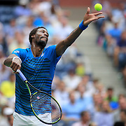 2016 U.S. Open - Day 12  Gael Monfils of France serving against Novak Djokovic of Serbia in the Men's Singles Semifinal match on Arthur Ashe Stadium on day twelve of the 2016 US Open Tennis Tournament at the USTA Billie Jean King National Tennis Center on September 9, 2016 in Flushing, Queens, New York City.  (Photo by Tim Clayton/Corbis via Getty Images)